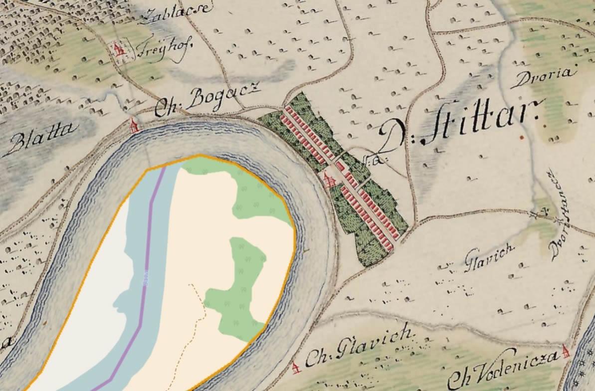 Štitar na karti iz 1780. g.